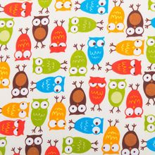 1meter beige Owl, Floral printed 100% cotton fabric for sewing,soft cotton…