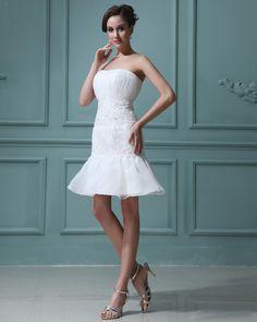 Sleeveless Organza Applique Sweetheart Short Mini Wedding Dress
