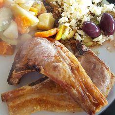 Lamb chops with avo olive and feta salad and mixed veggies #Lambchops
