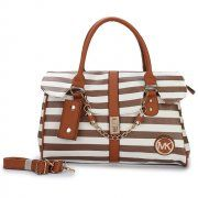 Michael Kors Striped Large Brown Satchels