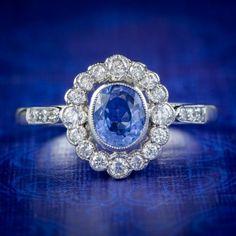 SAPPHIRE DIAMOND CLUSTER RING PLATINUM 0.70CT SAPPHIRE cover Sapphire Rings, Diamond Cluster Ring, Sapphire Diamond, Blue Sapphire, All Gems, Free Ring, Antique Jewelry, Diamond Cuts, Engagement Rings