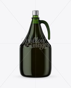 3L Green Glass Olive Oil Bottle With Handle Mockup