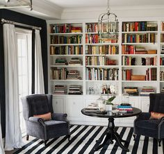 Wall of shelves w/stripped rug.