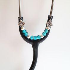 Women's Beaded Stethoscope ID Pendant Charm Jewelry Accessories Aqua by DungleBees on Etsy