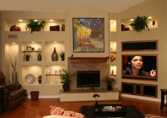 built in wall units and entertainment centers | custom drywall project 1 new wall unit built in shelves lighting ...