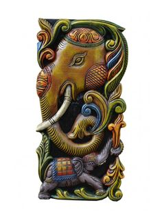 Multicoloured Floral Designed Elephant Wall Mount Wooden Elephant, Elephant Head, Wood Crown Molding, Wood Carving Art, Wood Carvings, Ganesh Statue, Indian Art Paintings, Dark Wax, Wall Brackets