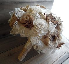 Ready to Ship  Burlap and Lace Bouquet Burlap by RusticSweethearts