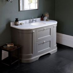 Burlington 134 Curved Vanity Unit with Double Doors : UK Bathrooms