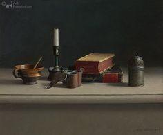 Still life with books and candlestick