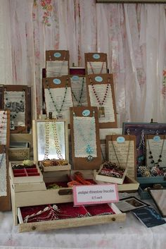 Good height used for displaying necklaces. A little crowded, can't see the ones in the back but good prop idea