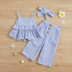 Solid / Striped Ruffled Camisole Top and Pants, Headband for Baby / Toddler Girl - Blue Trendy Toddler Girl Clothes, Toddler Fall Outfits Girl, Toddler Girl Dresses, Baby Outfits, Kids Outfits, Toddler Girls, Toddler Fashion, Gym Outfits, Fashion Kids
