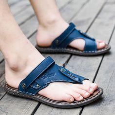 0911888af5e Summer Men slippers Male genuine leather Flip Flops for man vintage Casual  Beach Sandals Non-