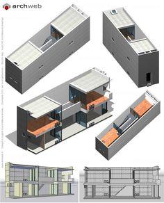 Azuma House (Row House in Sumiyoshi) Osaka Japan Tadao Ando, Concrete Architecture, Architecture Design, Ancient Architecture, Sustainable Architecture, Landscape Architecture, Autocad, Casa Azuma, Row House Design