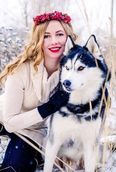 Photo shoot with huskies, winter photo shoot in Moscow