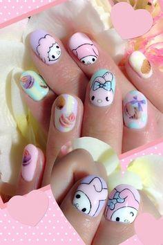 kawaii my melody nails Rose Nail Art, Rose Nails, Kawaii Nail Art, Anime Nails, Nailed It, Hello Kitty Nails, Cute Nail Art Designs, Cat Nails, Disney Nails