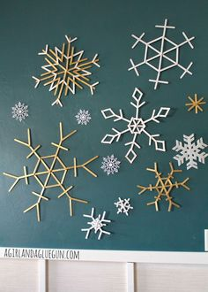 snowflakes made from popsicle sticks: