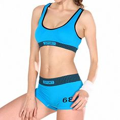 Aoneitem Sports Yoga Bra and Boy Short SetPadded Seamless High Impact Support for Workout FitnessBlue -- Find out more about the great product at the image link.Note:It is affiliate link to Amazon.