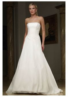 Organza Strapless Beaded Straight Neckline with A-Line Skirt and Chapel Train Simple Bridal Dress