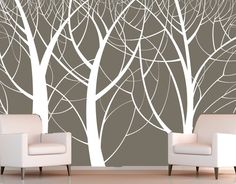 vinyl wall art - white tree trunks and branches