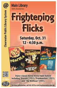 """Enjoy a classic horror movie triple feature including """"Dracula"""" (1931), """"Frankenstein"""" (1931), and """"The Wolfman"""""""