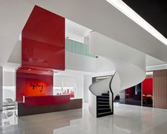 A splash of red - Ogilvy & Mather - Shanghai -Robarts Interiors and Architecture Corporate Interiors, Office Interiors, Commercial Interior Design, Commercial Interiors, Colour Architecture, Interior Architecture, Atrium Design, Lobby Design, Reception Design