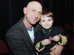 Scott Florence, artistic director of A Company of Fools, with his four-year-old son, Raffi, at the theatre company's annual Twelfth Night Celebration, held Monday, January 5, 2015, at the NAC Fourth Stage.