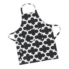 Linen Tablecloth Trellis Bib Apron Color: Black/White
