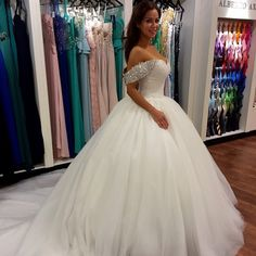 Off Shoulder Wedding Dress,Elegant Ball Gown Wedding Dresses