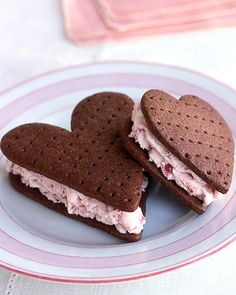 Chocolate Strawberry Ice Cream Sandwiches Valentine's Day Dessert Recipes | Martha Stewart Living - Replacing vanilla with strawberry reinvents the ice-cream sandwich.