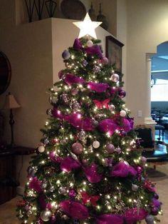 Rena's Pink & Purple Christmas Tree Purple Christmas Tree Decorations, Silver Christmas Tree, Beautiful Christmas Trees, Noel Christmas, Holiday Tree, Christmas Images, Christmas Lights, Christmas Crafts, Coastal Christmas