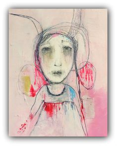 """Original Painting, Mixed Media Collage, Drawing with Acrylic by Christina Romeo """"Breaking Out"""""""