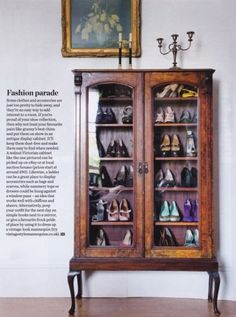 Creative shoe storage - you could just go around finding amazing shoes in charity shops to fill up something like this!