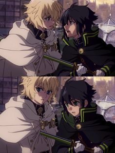 Seraph Of The End>>> *stares into each others eyes after being apart for four years. Fights disbelief and accepts the impossible is really happening, Family reunited. Then Guren totally ruins the moment.*