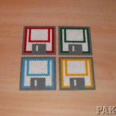 Floppy Disc Coaster Set of 4.Retro Computer.Handmade Hama Bead,Perler,Fuse