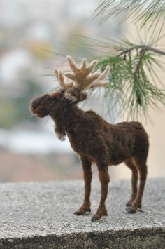 Needle Felted Animal Moose. Made to order by darialvovsky, $132.00