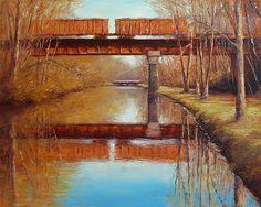 """Railroad Reflections"" 16x20 oil on canvas - Landscape Paintings by Joe Kazimierczyk"