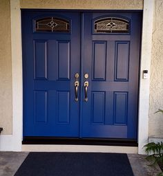 ThermaTru smooth fiberglass in Commodore Blue. Installed in Newport Beach, CA Entry Doors With Glass, Glass Door, Newport Beach, Light Up, Tall Cabinet Storage, Smooth, House Ideas, Blue, Furniture