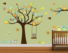 Children Nursery Owl Wall Decal Wall Decal Wall Stickers Owls swing Butterflies. $119.99, via Etsy.