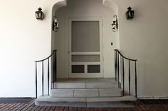 Maynard Studios - Our style is our client's style. It's our handwriting, but it's their story, told one tool mark at a time. Porte Cochere, Iron Stair Railing, Hand Railing, Exterior Design, Interior And Exterior, Brick Steps, Front Steps, Front Entry, Wrought Iron