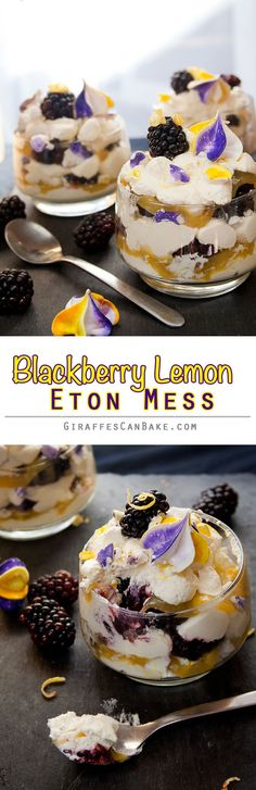 Blackberry & Lemon Eton Mess - Layers of fresh whipped lemon cream, meringue pieces, lemon curd and fresh blackberries, a traditional English dessert given an Fall makeover! Make the meringue and curd in advance and you can put this dessert together in mi Pavlova, Lemond Curd, English Desserts, English Recipes, Delicious Desserts, Dessert Recipes, Eton Mess, Lemon Cream, Whipped Cream