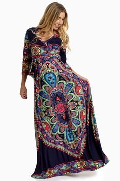 Navy Vibrant Boho Draped Maternity Maxi Dress