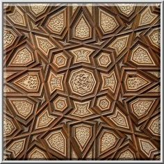 Polygonal ornament on a wood panel in Museum of Islamic Art. Doha, Qatar
