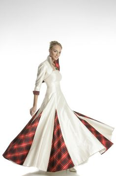 Wedding dress with red tartan insets