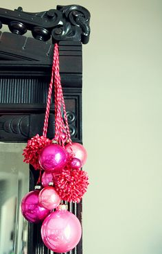 I LOVE the idea of hanging ornaments like this.