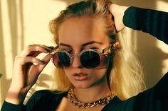 It's Evelina: Womens Indie Fashion Round Metal Mesh Cat Eye 9432