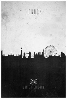 Would this fit into our apartment? // Contemporary graphic of London skyline charting the diverse architecture of the city from the historical Westminster Abbey to the modern London eye. Artwork printed in-house, on smooth high quality, heavy. London Poster, London Art, Art Mural, Wall Art, Poster Online, Cities, London Skyline, Creative Posters, Illustrations