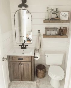 Farmhouse Bathroom Vanity - People that have a rustic home know how important it is to find the appropriate ideas for your bathroom vanity to generate everything fit along with the rest of the house. Downstairs Bathroom, Bathroom Renos, Bathroom Shelves, Bathroom Renovations, Bathroom Storage, Bathroom Interior, Bathroom Organization, Bathroom Small, Dyi Bathroom