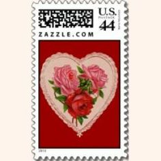 Send cards with vintage Valentine postage stamps. These unique stamps come custom made from an online shops like Zazzle. I love this site, in fact I am addicted to it. Zazzle is a high quality, fast shipping, online shop where print on demand postage will be sent to the buyer within 24 hours.