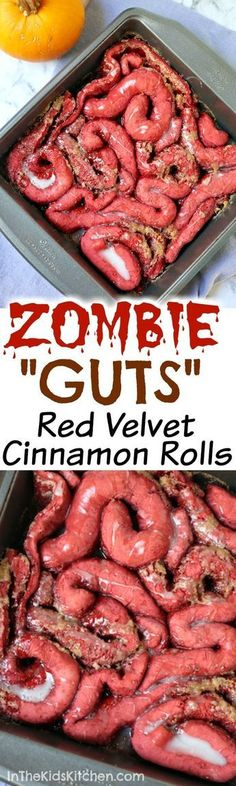 Zombie Guts Red Velvet Cinnamon Rolls recipes for halloween Halloween Snacks, Dessert Halloween, Hallowen Food, Hallowen Ideas, Halloween Cocktails, Halloween Dinner, Scary Halloween, Fall Halloween, Halloween Parties