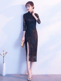 Embroidered Split Qipao / Cheongsam Evening Dress - CozyLadyWear by AnneF Elegant Dresses, Sexy Dresses, Beautiful Dresses, Nice Dresses, Evening Dresses, Prom Dresses, Dress Brukat, Cheongsam Dress, Ao Dai